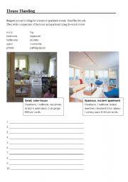 english worksheets house hunting. Black Bedroom Furniture Sets. Home Design Ideas