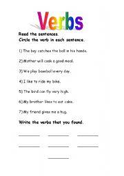 Verb worksheet verb worksheet circle the verb in each group of words ...