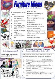 English Worksheets: Furniture Idioms (with KEYS)