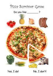 English Worksheet: Pizza Survivor Game