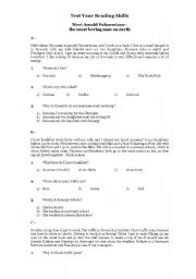 English Worksheets: An elementary reading comprehension test