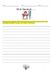 English Worksheets: If it Snowed...