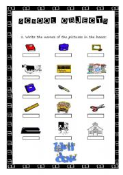 English worksheet: school objects with key
