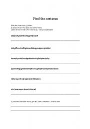English Worksheets: Find the sentence