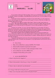 English Worksheet: Reading about recycling