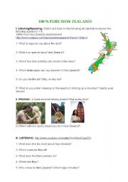 English Worksheet: 100 PURE NEW ZEALAND - Maori culture video and speaking tasks + KEY