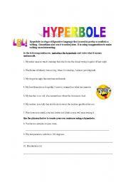 Worksheet Hyperbole Worksheets english teaching worksheets hyperbole practice