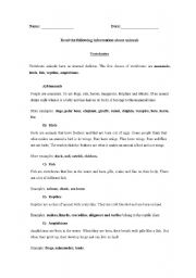 English Worksheet: Vertebrate animals