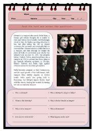 English Worksheets: Edward Cullen�s life