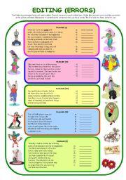 English Worksheets: EDITING (ERRORS)