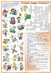 English Worksheets: Present Simple Crossword (2): Third person singular