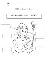 English Worksheet: My body-Snowman