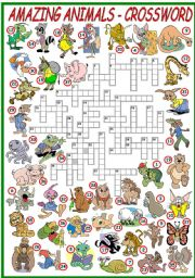 English Worksheet: AMAZING ANIMALS - CROSSWORD (KEY AND B&W VERSION INCLUDED)