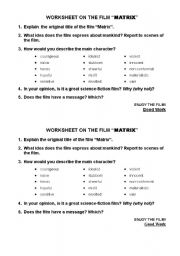 English Worksheets: Worksheet on the film Matrix