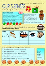 English Worksheet: ADJECTIVES RELATED TO THE FIVE SENSES
