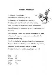 english worksheets practice silent k with freddie the knight. Black Bedroom Furniture Sets. Home Design Ideas