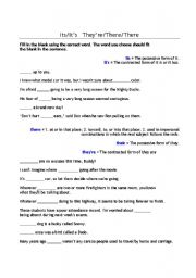 english worksheets its it s they re there there. Black Bedroom Furniture Sets. Home Design Ideas