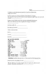 English Worksheets: Consumer Math Problems