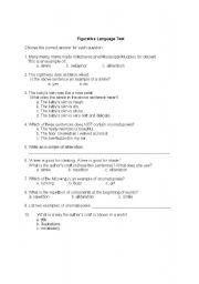 English Worksheet: Figurative Language Test