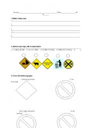 English Worksheet: rules, prohibition and warning signs.