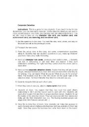 English Worksheet: Corporate Detective Game
