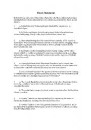 Worksheet Thesis Statement Worksheet identifying correct thesis statements