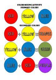 color mixing activity esl worksheet by biniza. Black Bedroom Furniture Sets. Home Design Ideas