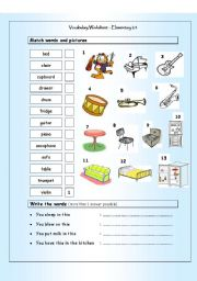 English Worksheet: Vocabulary Matching Worksheet - Elementary 2.4 - Musical Instruments & House words