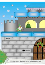 English Worksheet: Christmas Castle Game with 40 Riddle Cards to Cut Out
