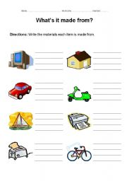 English Worksheets: What�s it made from?