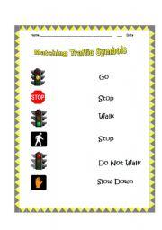 English Worksheets: Matching Traffic Symbols