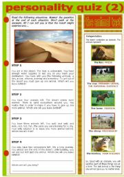 English Worksheet: PERSONALITY QUIZ - THE ANIMAL TEST