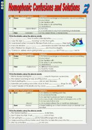 English Worksheets: Homophonic Confusions and Solutions 2