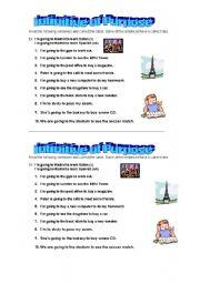 English Worksheet: Use of infinitive of purpose (short exersise sheet)