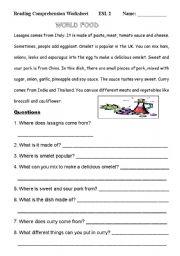 English Worksheets: Reading Comprehension Worksheet (4)