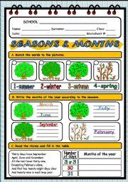 English Worksheet: SEASONS AND MONTHS