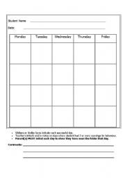 English Worksheets: Daily Behaviour Chart