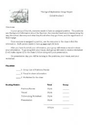 English worksheets: Age of Exploration Group Project