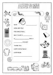 English Worksheet: LETTER TO SANTA