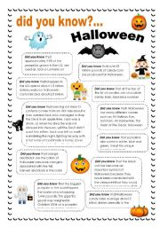 English Worksheets: Did you know... Halloween