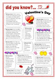 English Worksheets: Did you know... Valentine´s day