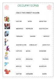 English worksheets occupations for kids