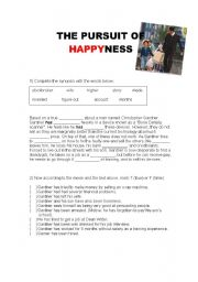 The Pursuit of HappYness (movie activity) - with answers!
