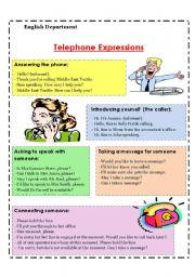 English worksheet: telephone expressions