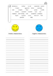 describing people s character adjectives esl worksheet by charlatana. Black Bedroom Furniture Sets. Home Design Ideas