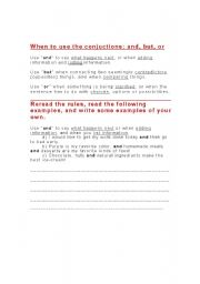 English Worksheets: Conjuction Notes