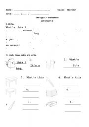 English Worksheets: Class objects worksheet
