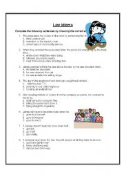 English Worksheet: Law Idioms