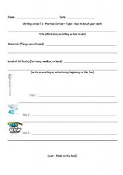 English Worksheets: How To Template, Brushing your teeth