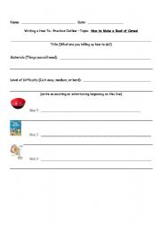 English Worksheets: How To Outline:  Topic:  Make a bowl of cereal